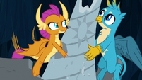Smolder and Gallus move another fountain piece S9E3
