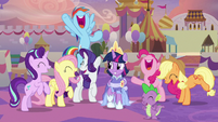 Twilight Sparkle's friends cheering loudly S9E26