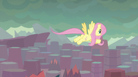 Fluttershy flies across the Dragon Lands S9E9