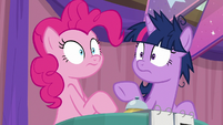 Pinkie and Twi hear Sunburst ring the bell S9E16