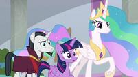 Twilight, Celestia, and Neighsay stunned S8E26