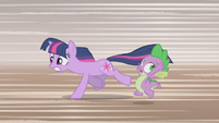 Twilight and Spike running away 3 S1E03