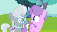 Diamond Tiara and Silver Spoon looking at each other S4E15