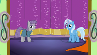 Library doors open to reveal Maud and Trixie S7E24