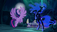 Nightmare Moon exclaims --No!-- as Twilight is about to teleport S5E26