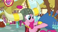 Pinkie holding her beloved yovidaphone S8E18