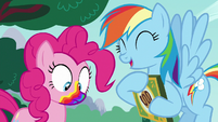 Pinkie with rainbow mouth; Rainbow laughing S6E15