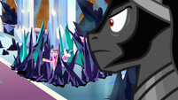 Princess Cadance pointing at the Mane Six S9E1