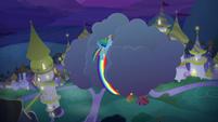 Rainbow Dash curling around a cloud S9E17
