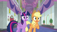 Twilight and Applejack hear crashing noises S8E21