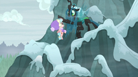Chrysalis saves Cozy Glow from falling S9E8