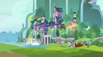 Ponies fleeing from the giant insect monster S8E1
