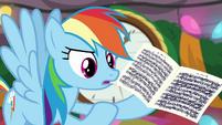 Rainbow Dash holding sheet music BGES2
