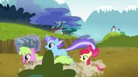 Daisy and Diamond Mint gallop past Apple Bloom S5E4