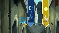 Gallus flying around Celestia and Luna banners S8E2