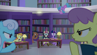 Library ponies shushing Twilight and Moon Dancer S5E12