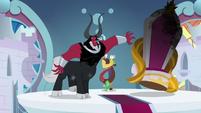 Lord Tirek shoving Twilight's throne aside S9E24