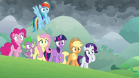 Mane Six and Spike looking surprised S9E25