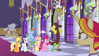 Ponies and Discord shocked by Fire Flare S9E17