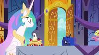 Princess Luna entering the castle dining hall S7E10