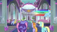 Rainbow Dash flying through the school halls S8E9