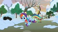 Rainbow Dash flying toward the castle MLPBGE