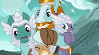 Rockhoof giving brown MH pony a noogie S7E16
