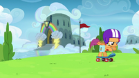 Scootaloo leaving the Wonderbolt Academy S7E7