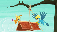 Smolder and Gallus lowering the shed roof S8E9