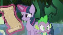 Spike backing up toward Twilight S5E25