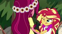 Sunset Shimmer puts a hand on Gloriosa's arm EG4