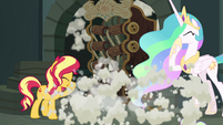 Sunset and Celestia cough through the smoke EGFF