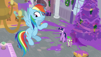 Twilight, Dash, and Spike looking around S8E16