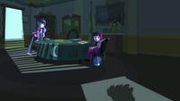 Twilight and Luna look toward the office door EG