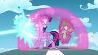 Twilight protects herself and Spike from magic blast with bubble shield S5E26