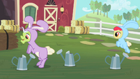 Apple Bloom and Granny Smith hopping S2E12