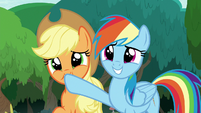 Applejack and Rainbow with pleading eyes S8E9