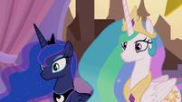 Celestia and Luna looking confused S9E17