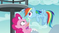 Pinkie pulls Rainbow Dash closer S5E24
