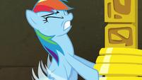 Rainbow Dash struggling to lift rings S4E04