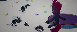 Tempest kicks an obsidian sphere at Twilight MLPTM