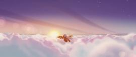 Orange Pegasus flying over the clouds MLPTM
