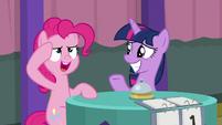 Pinkie Pie saluting to Twilight S9E16