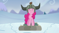 Pinkie smiling while snow cracks S5E11