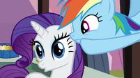 Rainbow Dash whispering to Rarity S3E2