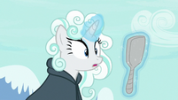 Rarity looks at her cloud wig in the mirror S7E19