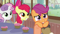 Scootaloo grabs parents' outstretched hooves S9E12