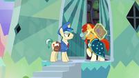 Sunburst looks embarrassed at Mail Pony S8E8