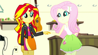 Sunset Shimmer takes Fluttershy's hand SS7