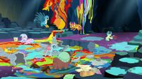 Young Six making a mess in the cave S9E3